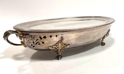 CHRISTOFLE  Légumier en métal argenté à décor...