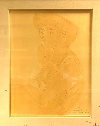 Ecole du XX ème  Portrait de femme à la robe...