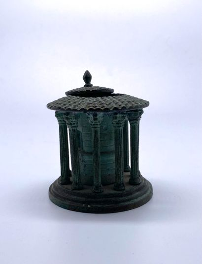 OBJECT OF CURIOSITY  Small candlestick (?) in the shape of a roman Tempieto with...