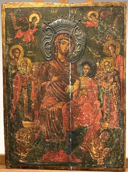 Icône de la Mère de Dieu Hodigitria flanquée...