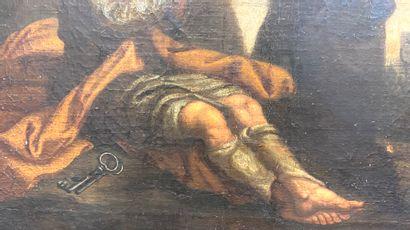 Ecole italienne du XVIII ème  Le repentir de saint Pierre  Huile sur toile  44 x...