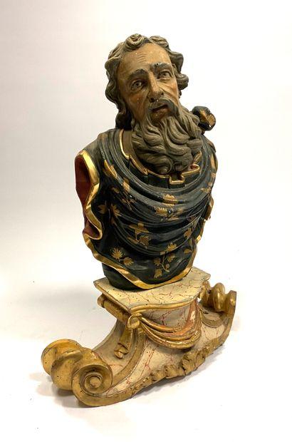 Buste de personnage barbu, le regard levé vers le ciel, drapé en bois sculpté, peint...