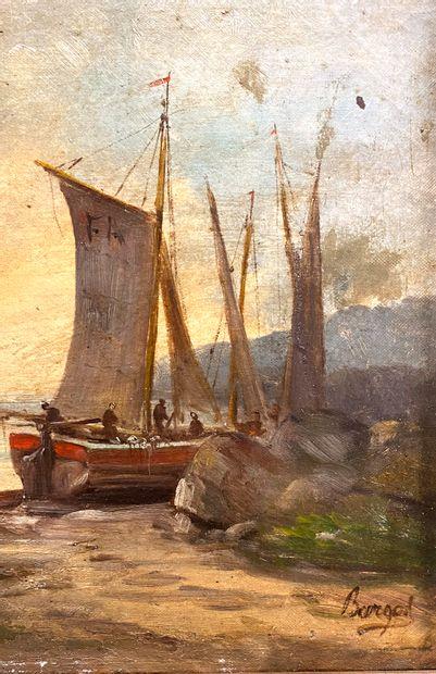 Ecole du XIX ème  Marine à Villefranche sur mer  Huile sur toile  Signé BARGEL en...