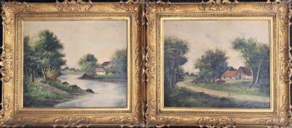L. HENRY (XIXème - XX ème)  Maison en bord...
