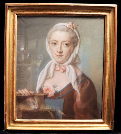 Pierre ALLAIS (1700-1781)  Femme à l'hermine...