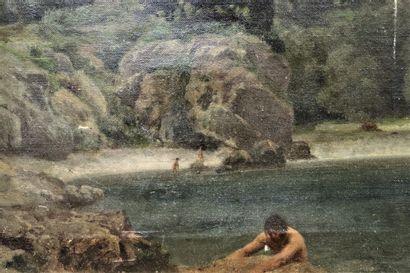 Ecole française, milieu XIX ème  Baigneurs au bord d'une falaise  Huile sur toile...