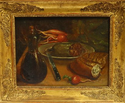 COSTE, Ecole du XIX ème  Nature morte aux oignons, 1840  Huile sur panneau  Signé...