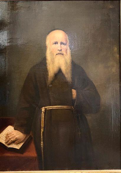 Ecole de la fin du XIX ème  Portrait de moine en bure  Huile sur toile  100 x 73,5...