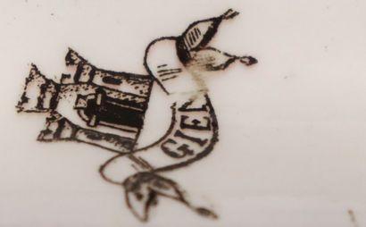 GIEN  Encrier aux dauphins en faïence à décor de putti et de grotesques en camaïeu...