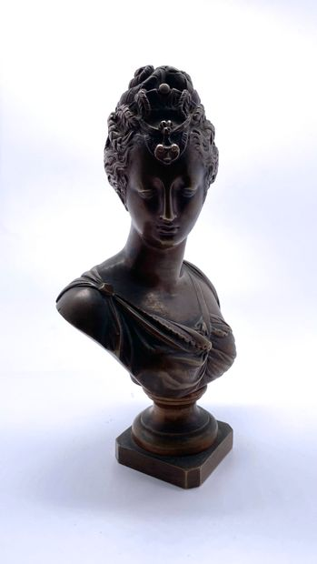 Buste de Diane en bronze à patine médaille...