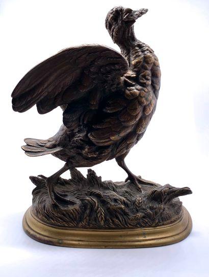Édouard Paul DELABRIERRE (1829-1912)  Perdrix à l'épi de blé  Bronze doré  Signé...