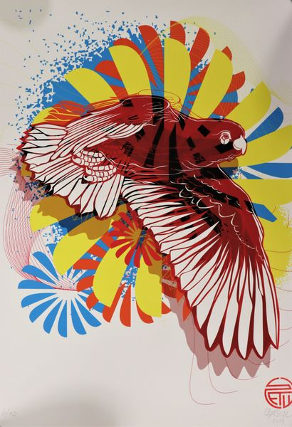 STEW (1978-)  Oiseau rouge en vol, 2018  Sérigraphie...