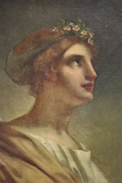 19th century FRENCH school, workshop of Pierre Paul PRUD'HON  Head of a young woman...