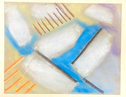 Ecole abstraite du XX ème  Composition  Pastel...