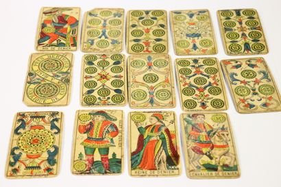 Johannes MULLER (1813-1873)  Tarot deck of Marseille, Swiss variant. Woodcuts, stencil...