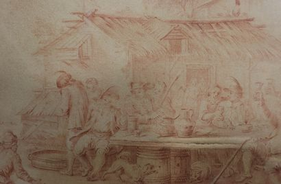 Follower of Téniers, 18th century  Tavern scene  Sanguine on paper  19,5 x 31 cm...
