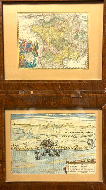 Lot de deux gravures en couleur comprenant :  - SEUTTER Matthieu. carte du Royaume...