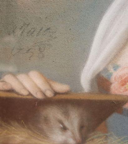 Pierre ALLAIS (1700-1781)  Femme à l'hermine  Pastel sur papier  Signé et daté à...