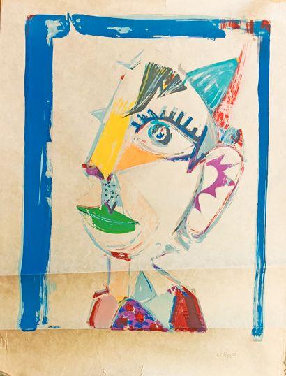 Bernard LORJOU (1908-1986)  Le clown  Lithographie...