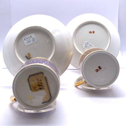 Porcelaine de PARIS  Paire de tasses litrons et leurs sous tasses en porcelaine...