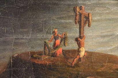 French school, late 19th century  Romantic scene of martyrdom near a cliff  Oil...