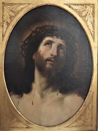 Ecole italienne du XVIII ème, d'après Guido Reni (1575-1642)  Christ  Huile sur...