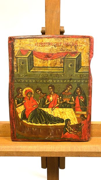 Icône de la Nativité de la Mère de Dieu  Tempera...
