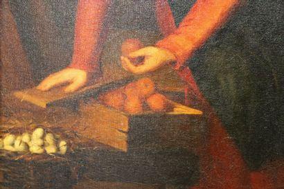 Ecole du début du XIX ème  La marchande de fruits et d'œufs  Huile sur toile  41...