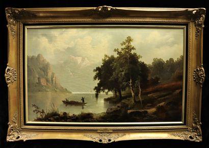 Alfred METZENER (1833-1905)  Paysage lacustre...