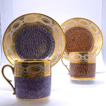 Porcelaine de PARIS  Paire de tasses litrons...