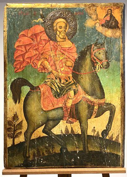 Importante icône du Saint martyr Mina d'Égypte...