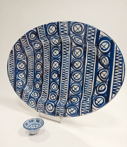 Robert PICAULT (1919-2000)  Grand plat ovale...