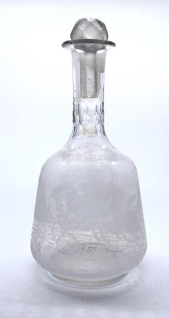 Alliance franco-russe  Carafe en verre gravé...