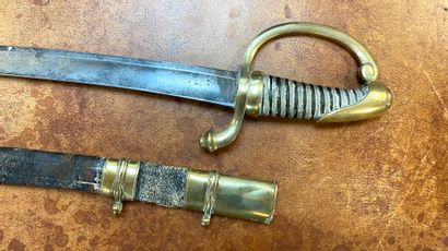 """Officer's saber of the National Guard type """"Briquet"""" of the Imperial Guard. Leather-covered..."""