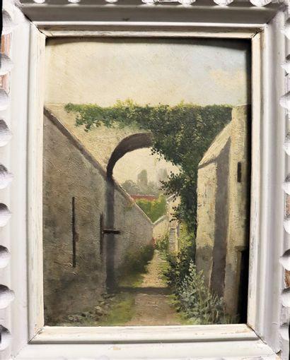 Ecole du XIXème  Ruelle de village  Huile...