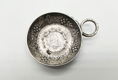 Silver wine stein, engraved with flowers and ears of wheat, snake handle  Inside...