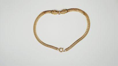 Collier en or jaune et or blanc 18k (750millièmes),...