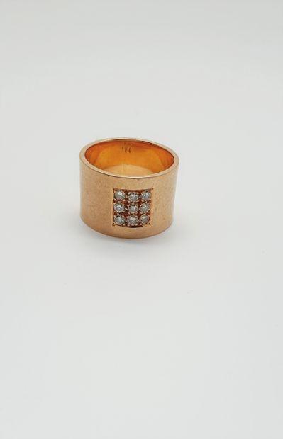 Large anneau en or rose 18k (750 millièmes)...