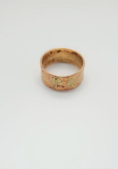 Large anneau plat en or jaune et or rose...