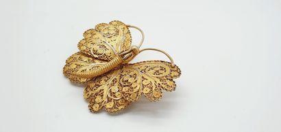 Broche en argent (800 millièmes) doré figurant...