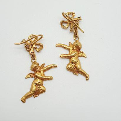 Boucles d'oreilles en or jaune 18k -750 millièmes)...