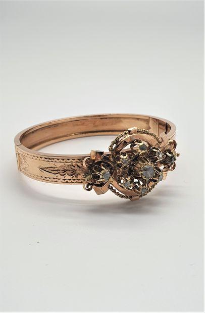 Bracelet en or 18k (750 millièmes) rigide,...