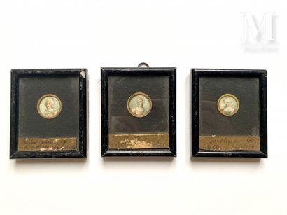 Lot de 3 portraits miniatures peints sur ivoire,