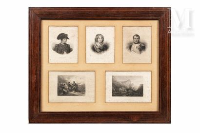 Cadre contenant cinq lithographies