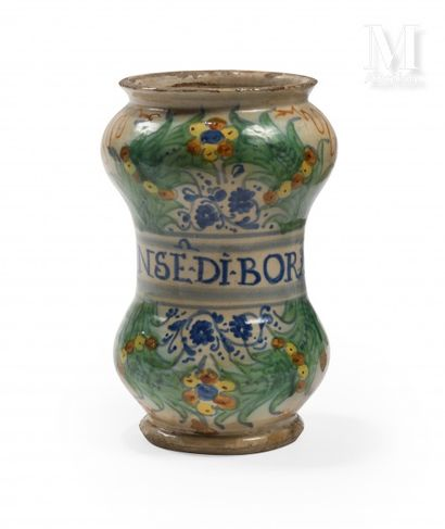 DERUTA  Earthenware albarello with double bulge with polychrome decoration of palms,...