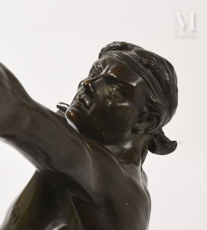 After Emile GREGOIRE (1871 - 1948)  The archer  Proof in bronze with brown patina...