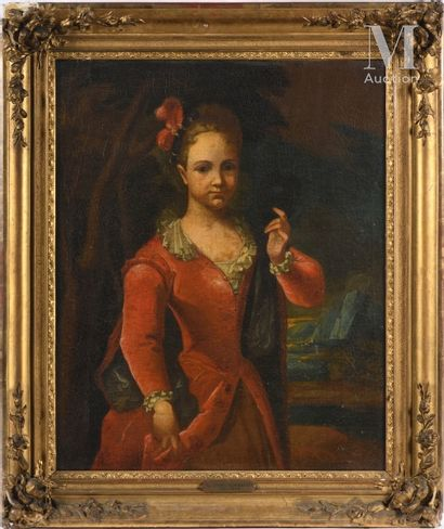 École ITALIENNE vers 1750 Portrait of a young girl in a red dress  Canvas  74 x 60...