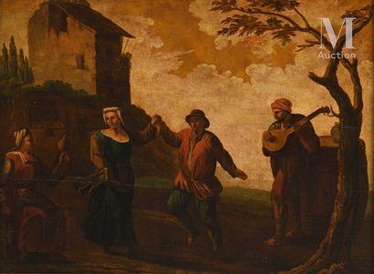Ecole ITALIENNE du XVIIIème siècle, suiveur de Paolo MONALDI The peasant dance  Parquet...