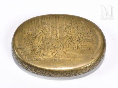Boite tabatière en cuivre de forme ovale, le couvercle, l'intérieur du couvercle...