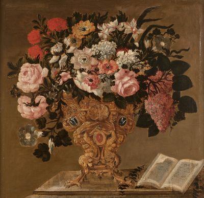 Ecole ITALIENNE VERS 1700  Fleurs dans un...